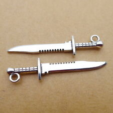 10pcs Charms Knife Sword Tibetan Silver Beads Pendant DIY Bracelet 10*43mm