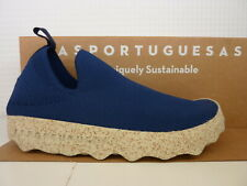 Asportuguesas by Fly London Care Navy Blue White Textile Canvas Slip On Shoe