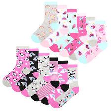 Girls 6 Pack Design Socks Unicorn Hearts Cotton Rich Panda Coloured Socks