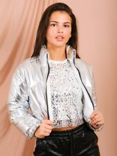 Ladies Padded Quilted Shiny Wet Look Vinyl Puffer Cropped Short Jacket Coat 6-14