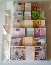 50,100,200,500 euro, 50,100 $, SET SOUVENIR BANKNOTE 6 package.NEW.