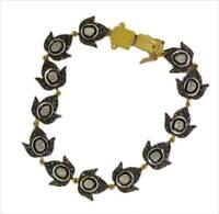 925 Sterling Silver Antique Rose Cut Uncut Victorian Style Diamond Bracelet