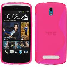 Silicone Case HTC Desire 500 S-Style hot pink + protective foils