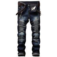 2019 Mens zipper Punk Rock Jeans Pants Moto Denim jeans Slim FIt Pants Trousers