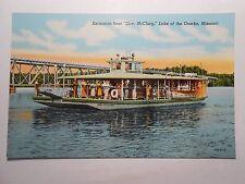 Old Postcard, LAKE OF THE OZARKS, MISSOURI, EXCURSION BOAT GOV. McCLURG