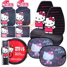 Hello kitty Core Car Seat Covers Accessories Complete 9pc w/ Rare Sunshade