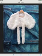 womens cape Size M white faux mink fur stole evening party winter wedding new