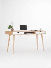 Modern oak desk mid-century modern design desk with white drawers and storage