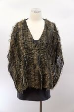 NWT$2995 Brunello Cucinelli 100% Silk Textured Fringed Sequin Top W/ Tank M A176