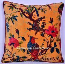 """Indian Velvet Pillow Birds Print Cushion Cover Ethnic Art Beige Throw 16"""" Decor"""