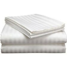 Queen Size 4 Pc White Striped Sheet Set 1000 Threads Count 100% Egyptian Cotton