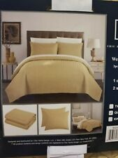 Chic Home Weaverland 3 Piece Cover Set Geometric Chevron Quilted,Queen, Gold