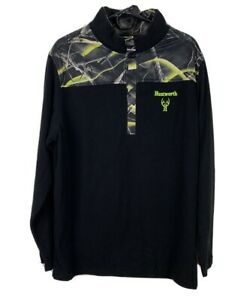 Huntworth Mens Oak Tree Kinetic Black Camo 3/4 Snap Pull Over Fleece Size L  NWT