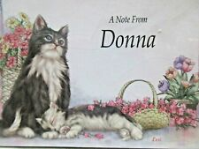 "Set of 8 Personalized Note Cards ""A Note From Donna"" with Cat and Kitten"