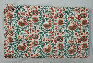 Paisley Print Indian Handmade 100%Cotton Bedding Bed Cover Kantha Quilt Blanket