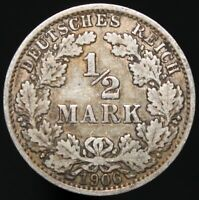 1906 A | Germany 1/2 Mark | Silver | Coins | KM Coins