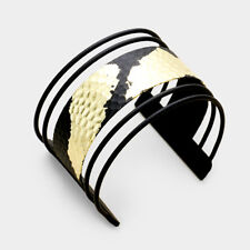 GLAM Statement Celeb Gold Dipped Black Cuff Bangle Bracelet by Rocks Boutique