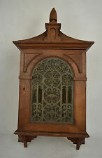 Wall Hanging Wood Cabinet Vintage Stained Glass Church Gothic