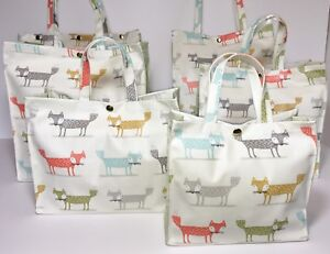 Handmade Oilcloth 100% Cotton Bags, Foxy Fox, Sage by Nikki's Original Totes