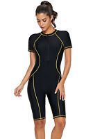 Women Back Front Zipper Short Sleeve Swimsuit Rash Guard One Piece Swim Wet Suit