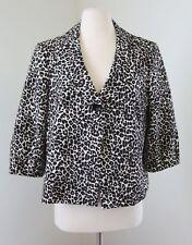 Kasper Leopard Cheetah Print One Button Swing Blazer Jacket Career 8 White Black