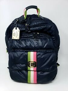 Authentic Juicy Couture Ruffled Quilted Navy Blue Backpack Gold Bag Accessory