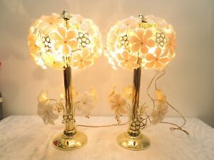 RARE PAIR Hollywood Regency GLAM Anthony California Glass Crystal Flower LAMPS