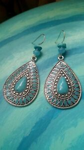 Native American turquoise princess earrings leafs leaf Moroccan