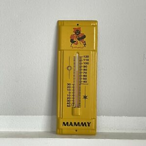 "RARE 1950s MAMMY Metal THERMOMETER_Yellow Retro Kitchen Mammy Collectible_7.5"""