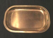 """Vtg AB Nils Johan Brass Rectangular Serving Tray Platter w/rope design 16"""" Long"""