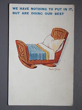 R&L Postcard: Donald McGill 1921, Trying for a Baby, Cot, Crib