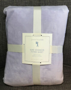 Pottery Barn Kids Luxe Chamois Fitted Sheet ONLY Twin Lavender Cozy Luxurious