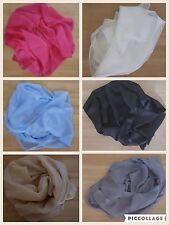 Donna 100 % Pure Collo Sciarpa Di Seta Sciarpa Hijab Tinta Unita