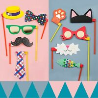 10pcs Set Photo Booth Props Moustache on Stick Weddings Christmas Birthday Party