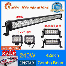 42'' 240W Led Light Bar +8inch 36W Spot Flood Truck Driving+18W CREE 4inch Jeep