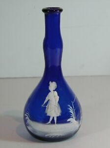 1890s MARY GREGORY STYLE ENAMEL DECORATED VICTORIAN ART GLASS BARBER BOTTLE