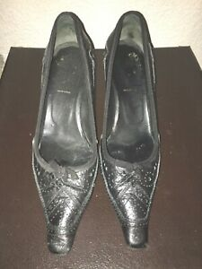 Prada Black Leather Pointy Toe Pumps, Size 38