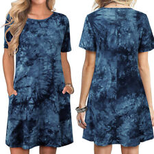 Womens Short Sleeve Casual T Shirt Summer Dresses Tie Dye Tunic Beach Sundress
