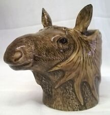 More details for quail ceramic moose head desk tidy, pencil, pen, brush pot or vase wild animal