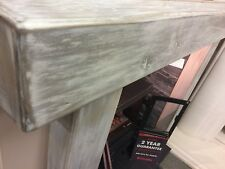 "8""x4""x48""  SOLID OAK BEAM - NEW ""GREY WASH FINISH"" - INGLENOOK FIREPLACE - STOVE"