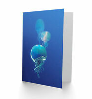 Celestial Galaxy Stars Jellyfish Combined Blue Blank Greeting Card With Envelope