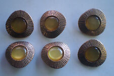 1960s Vintage Brass with Yellow pearl centre , 6 x Buttons - 21mm , never used.