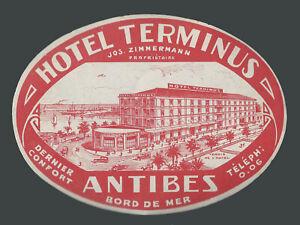 Hotel Terminus ANTIBES France – vintage luggage label