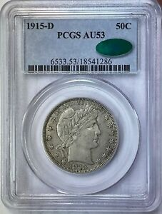 1915-D BARBER HALF DOLLAR - PCGS AU-53 CAC APPROVED!