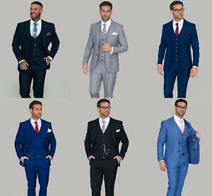 Men's Cavani Vintage Wedding 3 Piece Suit Formal Plain Work Suit Tailored Fit