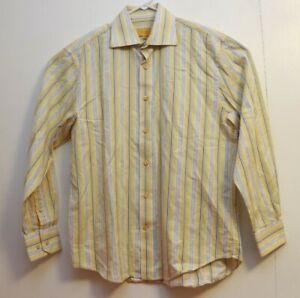 Robert Talbott Carmel Yellow Striped Button Down Shirt Mens Size Medium