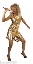 Ladies Womens Gold Tina Turner Rock Pop Star 80s Fancy Dress Costume Outfit 8-12