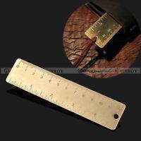 "Pocket Mini Vintage Brass Ruler 4"" keyring attachment bookmark Ruler Dual Scales"