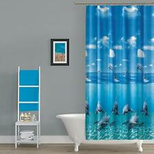 Extra Long Shower Curtain Blue  Pattened Quality Polyester Fabric 180 x 200 cm