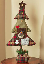 CHARMING Homespun Country CHRISTMAS TREE With Snowman, MEW
